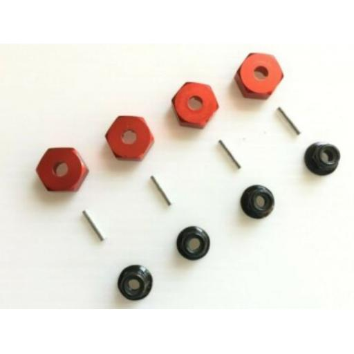 Metal Wheel Hex Nuts 12mm Drive Hubs with Pins suitable for 1/10 RC car. - Red