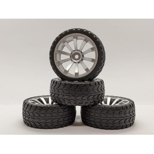 1/10 RC 26mm Silver Metallic 10 Spoke Wheels and Road Racing Tyres