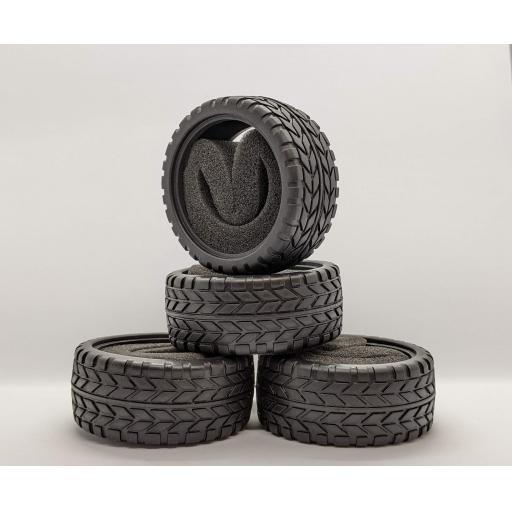 1/10 RC Car tyre set. High Grip with foam insert. 52mm x 26mm