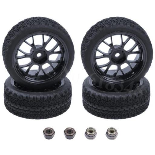 1/10 RC 26mm Car wheel and tyre set. High Grip 12mm Hex fitting