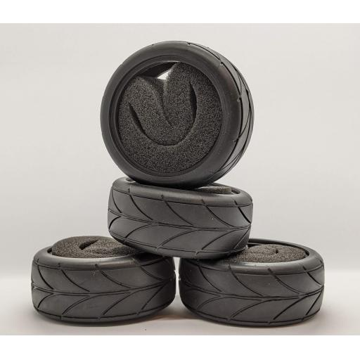 1/10 RC Race Car tyre set. High Grip with foam insert. 52mm x 26mm