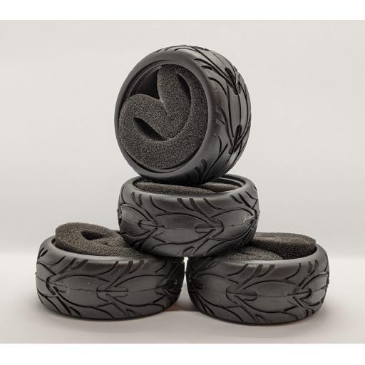 1/10 RC Car tyre set. High (wet) Grip with foam insert. 52mm x 26mm
