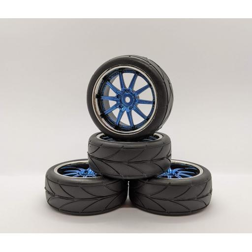 1/10 Blue Chrome wheels and tyres 26mm