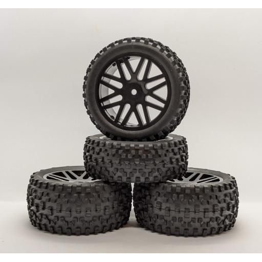 1/10 Buggy / Truck wheels 12mm Hex fitting in Black. Set of four.