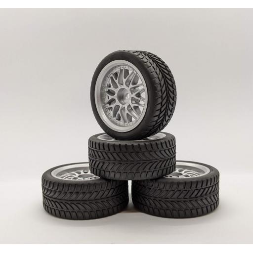 1/10 RC 26mm Silver Metallic Spoke Wheels and Road Racing Tyres