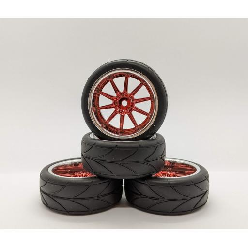 1/10 Red Chrome wheels and tyres 26mm