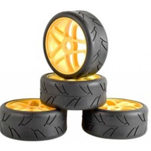 1/8 Buggy Wheels Yellow- 17mm Hex fitting. HPI Kyosho XTM Hobao Set of four.