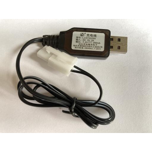 RC 7.2V 250mA Battery USB charger NiCad NiMH - Tamiya connector