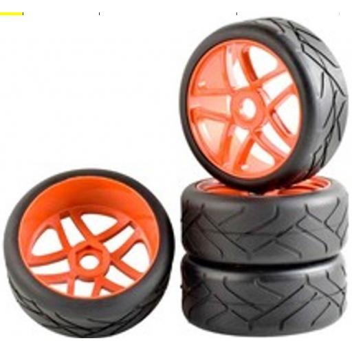 1/8 Buggy Wheels Red- 17mm Hex fitting. HPI Kyosho XTM Hobao Set of four.