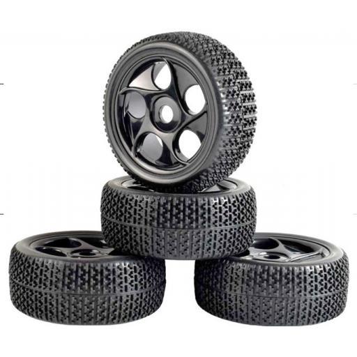 1/8 Buggy Wheels Black - 17mm Hex fitting. HPI Kyosho XTM Hobao Set of four.