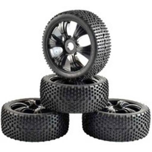 1/8 Buggy Wheels Black Fan Spoked- 17mm Hex fitting. HPI Kyosho XTM Hobao Set of four.
