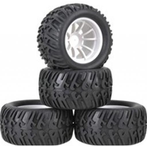 1/10 Truck Wheels White -12mm Hex fitting. HSP, HPI Savage etc Set of four