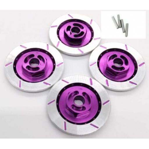 Rc Car Brake Disk Set - 12mm Hex + Axle Pins Aluminium 1/10 Purple