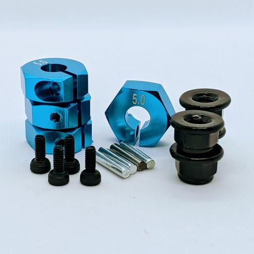 Metal Wheel Hex Nuts 12mm Drive Hubs with With Retaining Bolt and Pins suitable for 1/10 RC car. - Blue