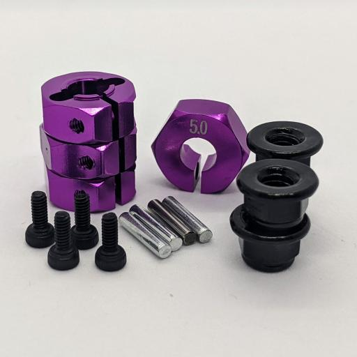 Metal Wheel Hex Nuts 12mm Drive Hubs with With Retaining Bolt and Pins suitable for 1/10 RC car. - Purple