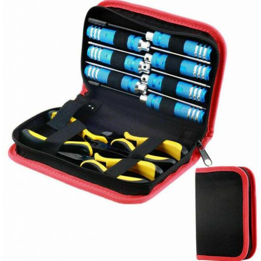 RC High Quality Toolkit in case for Car, Buggy, Truck, Boat Helicopter. 10 Tools - Red set