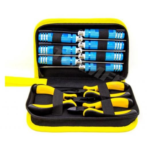 RC High Quality Toolkit in case for Car, Buggy, Truck, Boat Helicopter. 10 Tools - Yellow set