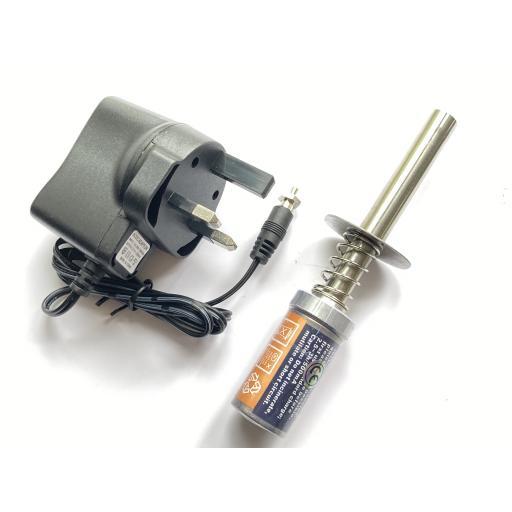 RC Nitro Glow Plug Starter igniter - rechargeable + UK Charger