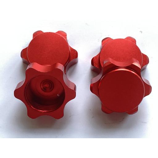 1/8 17mm Universal Red Non Slip locking Wheel Nuts x 4 Aluminium Alloy Dust Cap