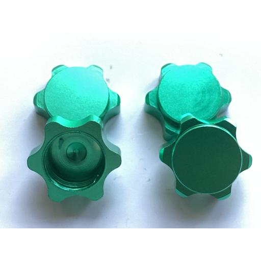 1/8 17mm Ansmann Universal Green Non Slip locking Wheel Nuts x 4 Aluminium Alloy Dust Cap