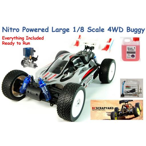 RC Nitro Engined Large 1/8 Scale Acme Attacker Buggy Includes Tools and Fuel RTR