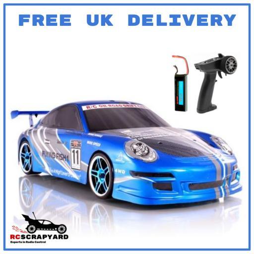 Porsche Electric Blue Fully Brushless Watrproof 1/10 scale RC Drift car - with Lipo Batt - Ready to Run
