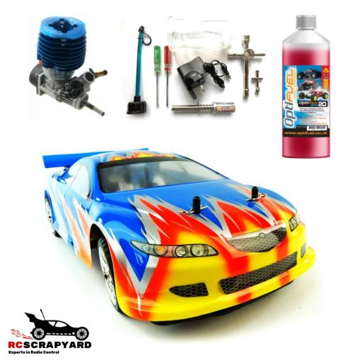 Acme Cyclone 1/10 Nitro Racing Car - Bundle Special with Fuel and starter - Ready to run